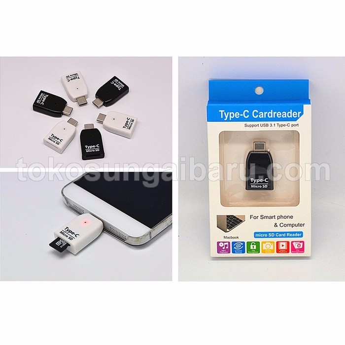 Card Reader OTG USB 3.1 Type C ke Micro SD
