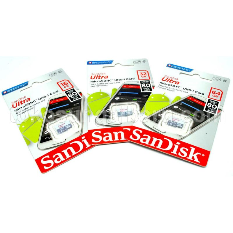 SanDisk Ultra microSDHC Card UHS-I Class 10 (80MB/s) 16GB