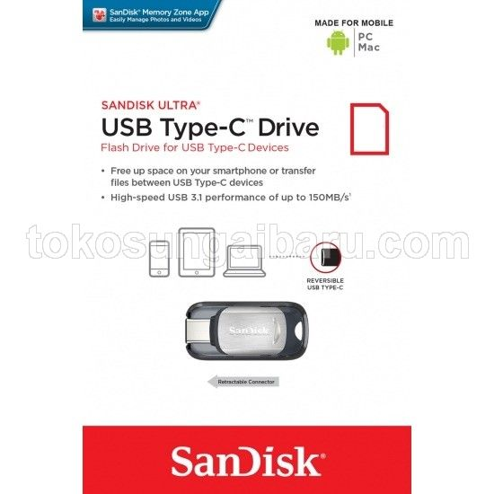 SanDisk Ultra USB 3.1 Type-C Flash Drive Silver 32GB